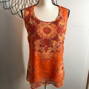 CAbi Orange Floral Merrow Edge Chiffon Tank Top